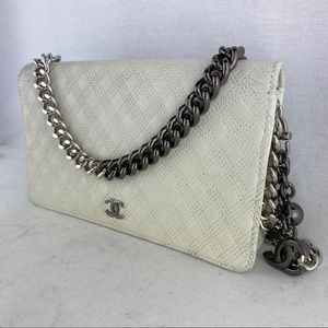RARE CHANEL White Leather Wallet on Chain
